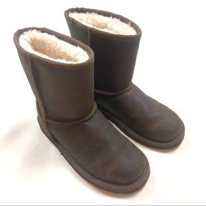 UGG Classic Brown Leather Short Shearling Boots